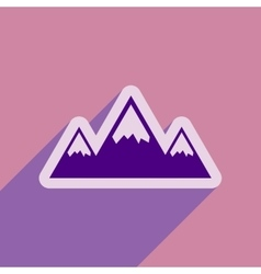 Flat web icon with long shadow mountains vector image