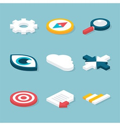 Flat Website Isometric Objects Set vector