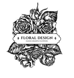 floral bouquet design with black and white roses vector image