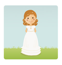 Girl communion with curly hair on blue sky vector