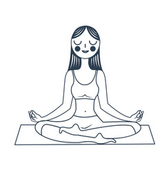 Girl sitting in a lotus pose vector