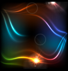 glowing neon colorful waves abstract background vector image