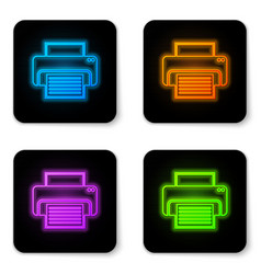 glowing neon printer icon isolated on white vector image