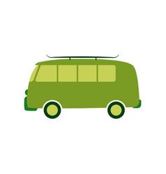 green passenger van car in vector image