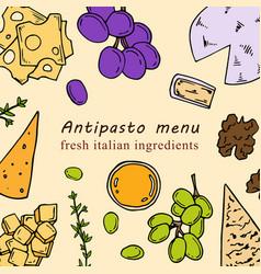 Hand drawn antipasto menu vector