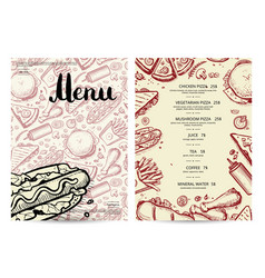 Hand drawn fast food restaurant menu vector
