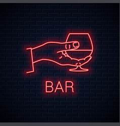 Hand hold cognac neon sign male brandy glass vector