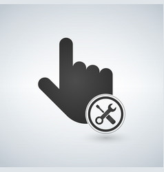 hand mouse cursor with settings tools in the vector image