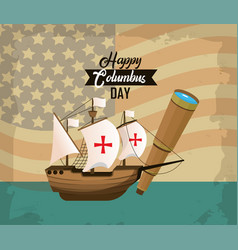happy columbus day card vector image