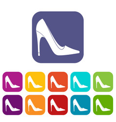 High heel shoe icons set flat vector