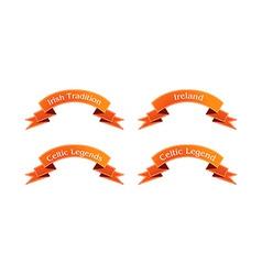 Irish orange ribbon set vector image vector image