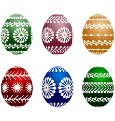 Isolated set of six painted easter eggs vector