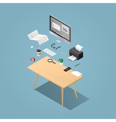 Isometric workplase flying objects vector image