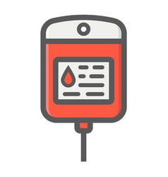 iv bag filled outline icon medicine healthcare vector image