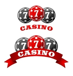 Jack pot icon with triple seven on chips vector