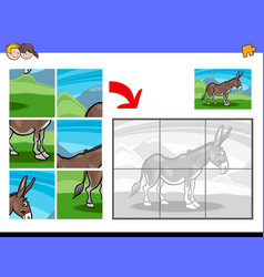 jigsaw puzzles with donkey farm animal character vector image