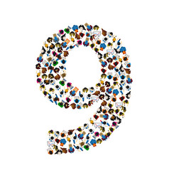large group of people in number 9 nine form vector image