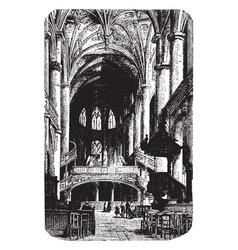 metz cathedral altar vintage engraving vector image
