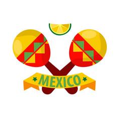 Mexican musical crossed maracas logotype in flat vector