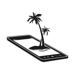mobile phone with palm tree island vector image