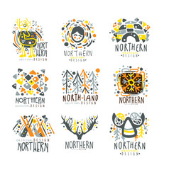Nothern nothern land set for label design vector