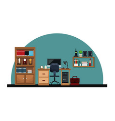 Office interior desk chair computer briefcase vector