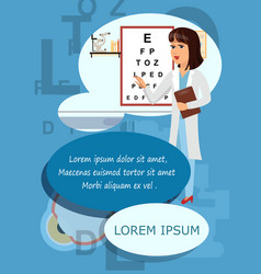 Ophthalmologist at hospital banner with copyspace vector