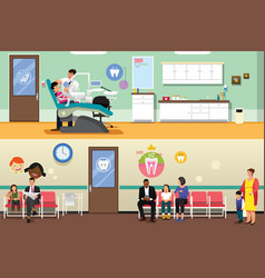 Patients and dentist at dental office vector
