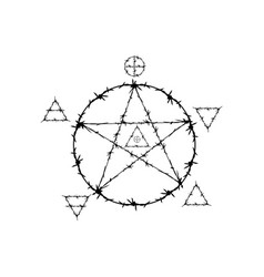 Pentagram symbol in barbed wire style magic signs vector