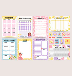 planner notebook decorated daily monthly and vector image