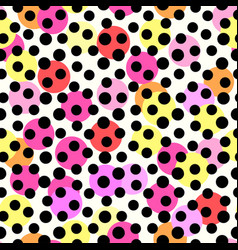 Polka dots seamless patterntextile ink brush vector