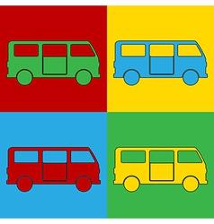 Pop art minibus icons vector