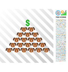 Puppycoin pyramid scheme flat icon with bonus vector