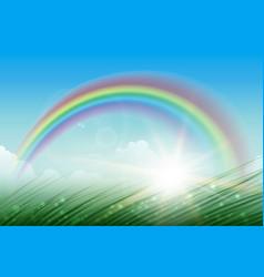 rainbow landscape background vector image