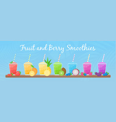 rainbow natural fruit smoothie colection graphic vector image
