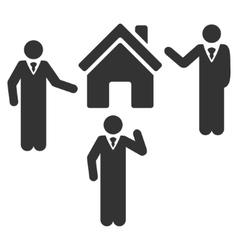 Realty discuss persons flat icon vector