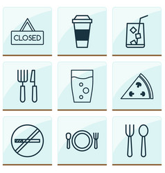 restaurant icons set with espresso hanging board vector image