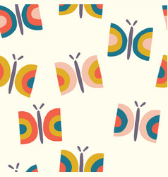 Retro butterfly seamless pattern background vector