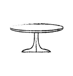 Round table wooden brown furniture icon vector