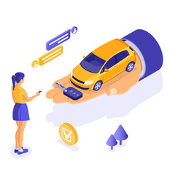 Sale purchase rental sharing car isometric vector