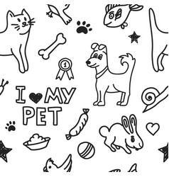 seamless background with drawing pets vector image