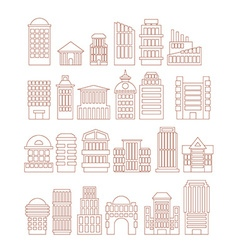 Set buildings icons Public and administrative vector image