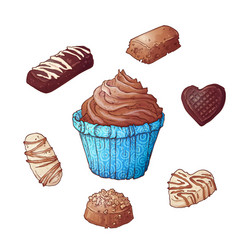 set of cupcakes chocolates hand drawing vector image
