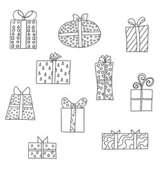 Set of different cute giftboxes vector