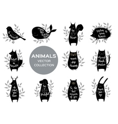 Set of eleven cute animls with motivation phrases vector