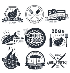 Set of grill and bbq labels in vintage vector