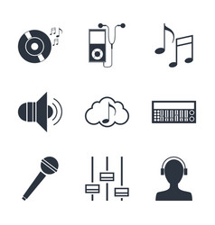 set of music technology symbols vector image