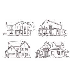 Sketch of wooden house vector