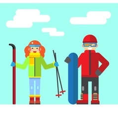 Ski rest in the winter vector image