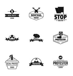 Social riot logo set simple style vector